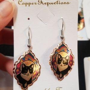 New copper earrings womens cat jewelry
